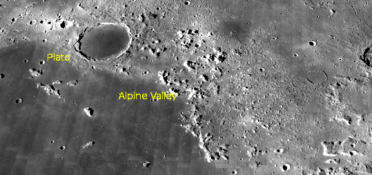 Alpine valley and the crater Plato