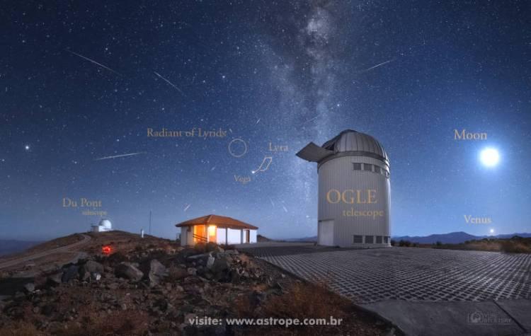Chuva de meteoros Lirídeas sobre o Observatório Las Campanas, Chile - 2017. Crédito: Yuri Beletsky.