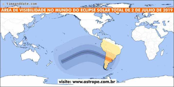 Área de visibilidade no Mundo do Eclipse Solar Total de 2 de julho de 2019. Crédito: TimeandDate.