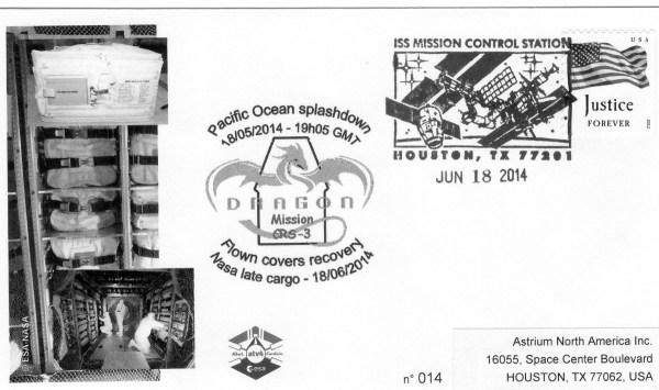 A213 4 - Vol 213 - ATV 4 - Enveloppes embarquées dans l'ATV via l'ISS, 18 Mai 2014 retour par capsule Dragon