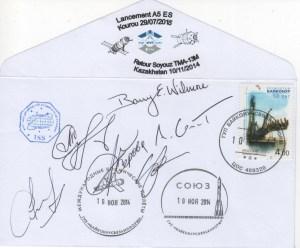 A219 8 - Vol 219 -ATV 5 - 10 Novembre 2014 récupération enveloppes embarquées dans ATV via ISS redescendues par Soyouz