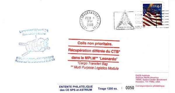 ATV1 Vol2 20090204 - Vol 181 - 04 Février 2009 - Enveloppe embarquée à bord de l'ATV 1, transférée dans L'ISS, retour sur terre par la navette Endeavour