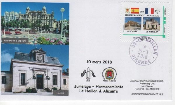 DC012 - Divers- Souvenir émis Par ASTROPHIL pour le jumelage avec la Société Philatélique d'Alicante (Espagne)