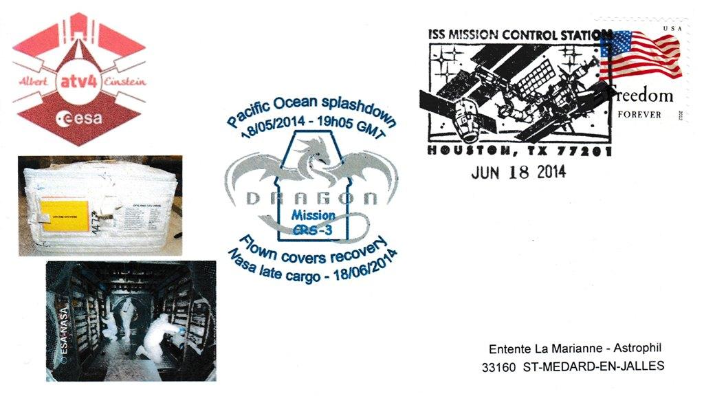 ATV4 Retour US 20140618 - Vol 213 - ATV 4 - Enveloppes embarquées dans l'ATV via l'ISS - 18 Mai 2014 - Retour sur Terre par Capsule Dragon