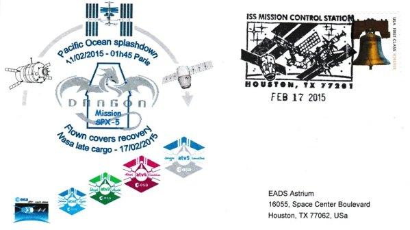 ATV5 Retour US 20150217 - Vol 219 - ATV 5 - 17 Février 2015 - Retour sur Terre des enveloppes embarquées dans l'ATV 5 via l'ISS par Capsule SpaceX-Dragon