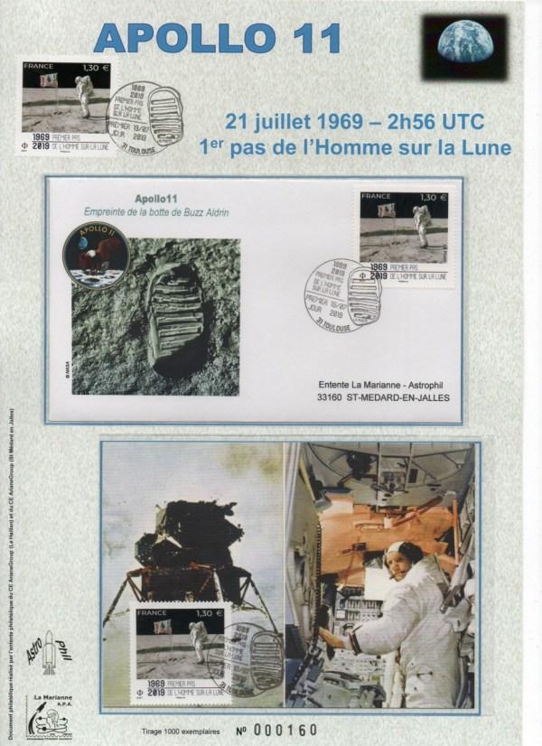 img20191107 18103368 - Premier jour timbre 50 ans du premier pas de l'homme sur la lune - Toulouse cité de l'Espace 19 Juillet 2019 (Encart)