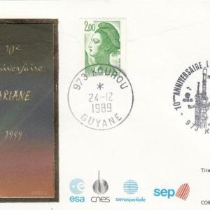 Divers 10ans Ariane 3 - Enveloppes commémoratives 10ème anniversaire du lancement d'Ariane 24 Décembre 1989