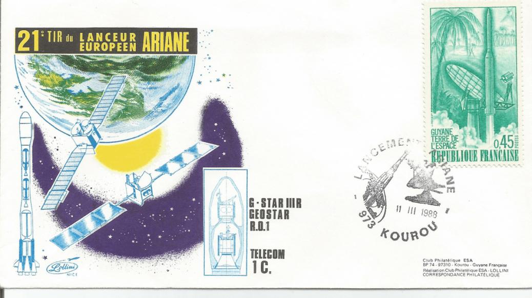Numérisation 20191222 2 - Kourou (Guyane) Lancement Ariane 3 – Vol 21 - 11 Mars 1988 (Enveloppes Club ESA - Lollini)
