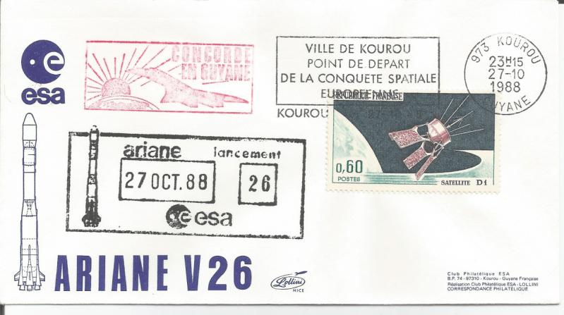 Numérisation 20191222 4 - Kourou (Guyane) Lancement Ariane 2 – Vol 26 - 27 Octobre 1988 (Enveloppe CLub ESA - Lollini)