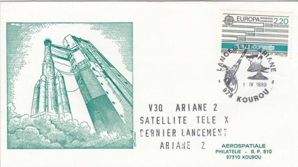 V30 Ariane2 TeleX - Kourou - Lancement Ariane 2 - Vol 30 - 01 Avril 1989