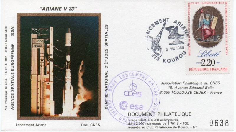 img20191216 14432599 - Kourou (Guyane) Lancement Ariane 4 - 44LP – Vol 33 - 08 Aout 1989 (3 Enveloppes  CNES )