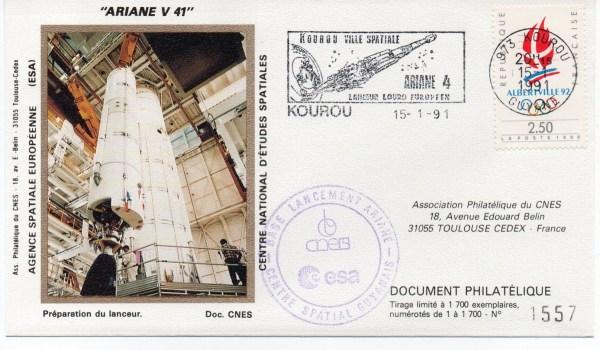img20191216 14481477 - Kourou (Guyane) Lancement Ariane 4 - 44L – Vol 41 - 15 Janvier 1991 (3 Enveloppes  CNES )