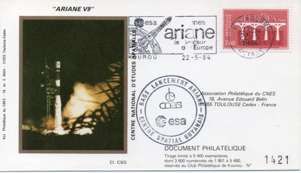 img20191219 16452532 - Kourou (Guyane) Lancement Ariane 1 – Vol 9 - 22 Mai 1984 (1 Enveloppe  CNES )