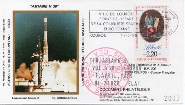 img20191219 16560800 - Kourou (Guyane) Lancement Ariane 2 – Vol 30 - 01 Avril 1989 (1 Enveloppes  CNES )