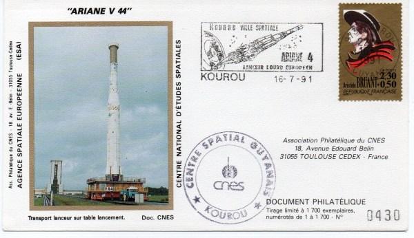img20191219 16591822 - Kourou (Guyane) Lancement Ariane 4 - 40 – Vol 44 - 16 Juillet 1991 (6 Enveloppes  CNES )