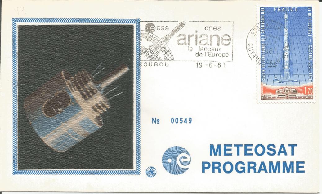 Numérisation 20191222 23 - Kourou (Guyane) Lancement Ariane 1 – Vol L3 - 19 Juin 1981 (Enveloppe Club ESA)