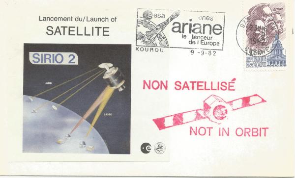 Numérisation 20191222 25 - Kourou (Guyane) Lancement Ariane 1 – Vol L5 - 09 Septembre 1982 Enveloppe ESA (Sirio 2)