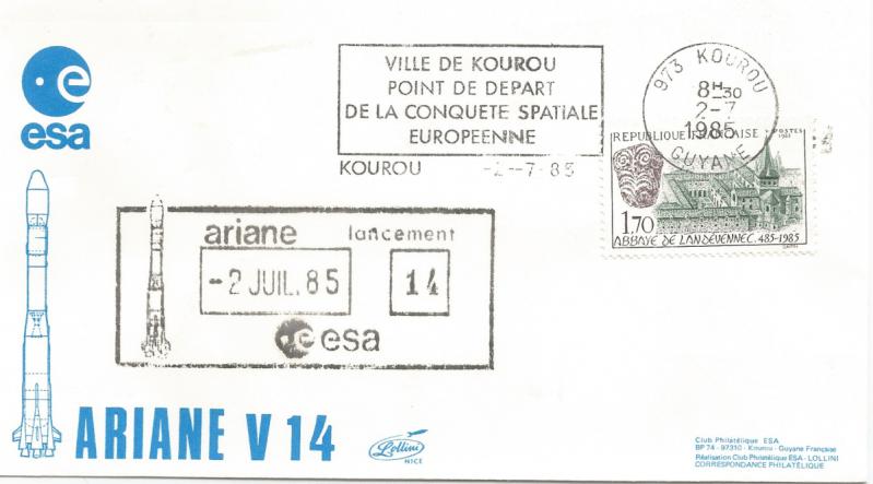 Numérisation 20191222 31 - Kourou (Guyane) Lancement Ariane 1 – Vol 14 - 02 Juillet 1985 (Enveloppe Club ESA - Lollini)