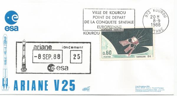 Numérisation 20191222 33 - Kourou (Guyane) Lancement Ariane 3 – Vol 25 - 08 Septembre 1988 (Enveloppe Club ESA - Lollini)