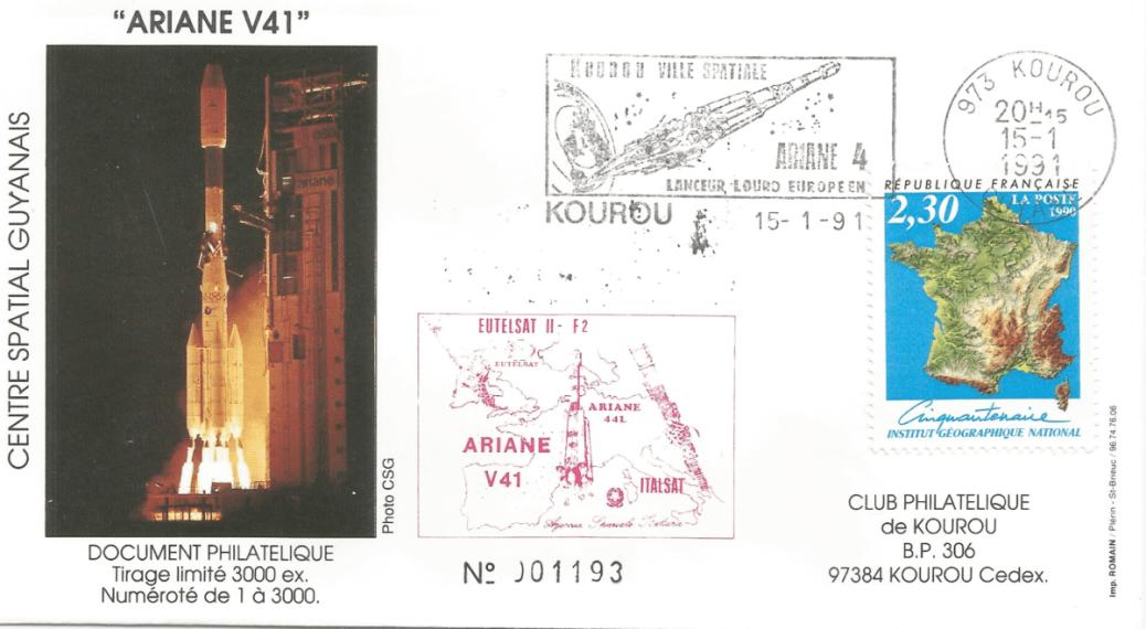 Numérisation 20191222 54 - Kourou (Guyane) Lancement Ariane 4 - 44L – Vol 41 - 15 Janvier 1991 (Enveloppe Club Phila de Kourou)