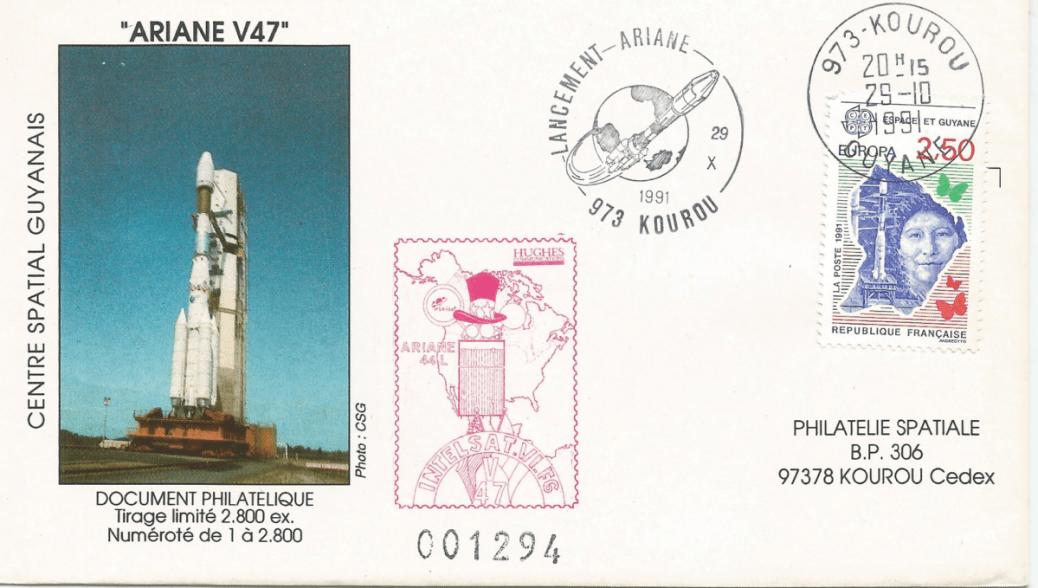 Numérisation 20191222 57 - Kourou (Guyane) Lancement Ariane 4 - 44L – Vol 47 - 29 Octobre 1991 (Enveloppe Club Phila de Kourou)