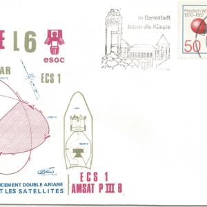 Numérisation 20191222 59 - Station de poursuite de Darmstadt (Allemagne) suivi Ariane L6 - 16 Juin 1983 (Enveloppe Lollini)