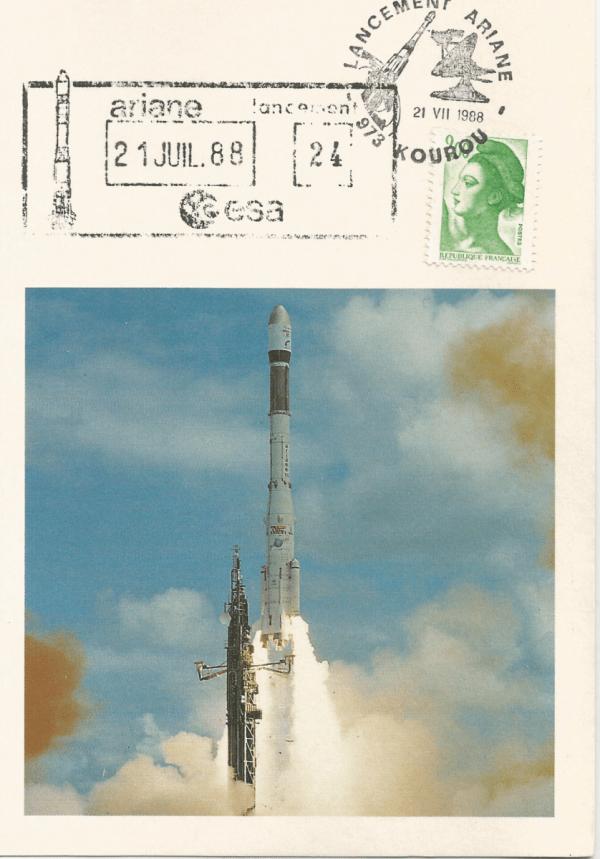 Numérisation 20191222 62 - Kourou (Guyane) Lancement Ariane 3 – Vol 24 - 21 Juillet 1988 (Cartes SEP)
