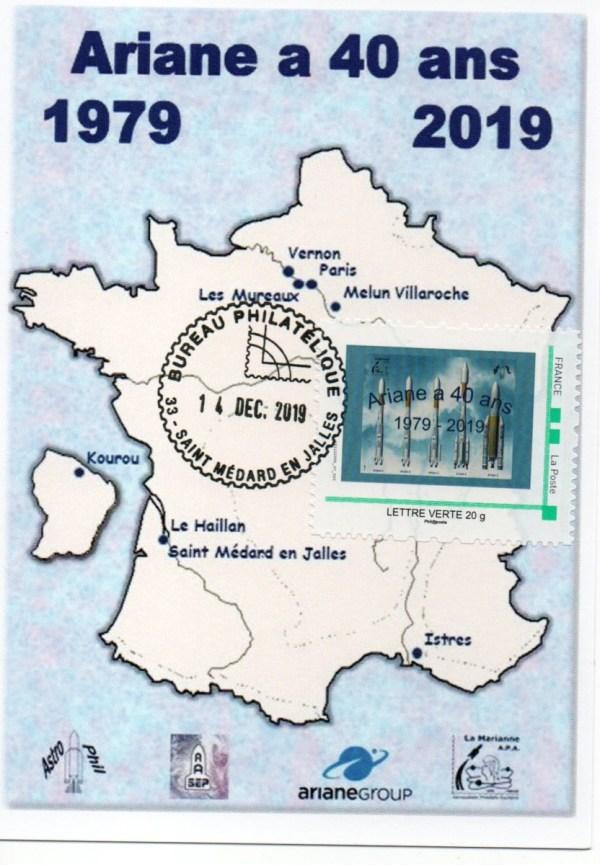 img20200212 18212462 - 40ème anniversaire du Premier lancement d'Ariane - Carte Postale émise à l'exposition de Saint Médard en Jalles le 14 Décembre 2019.