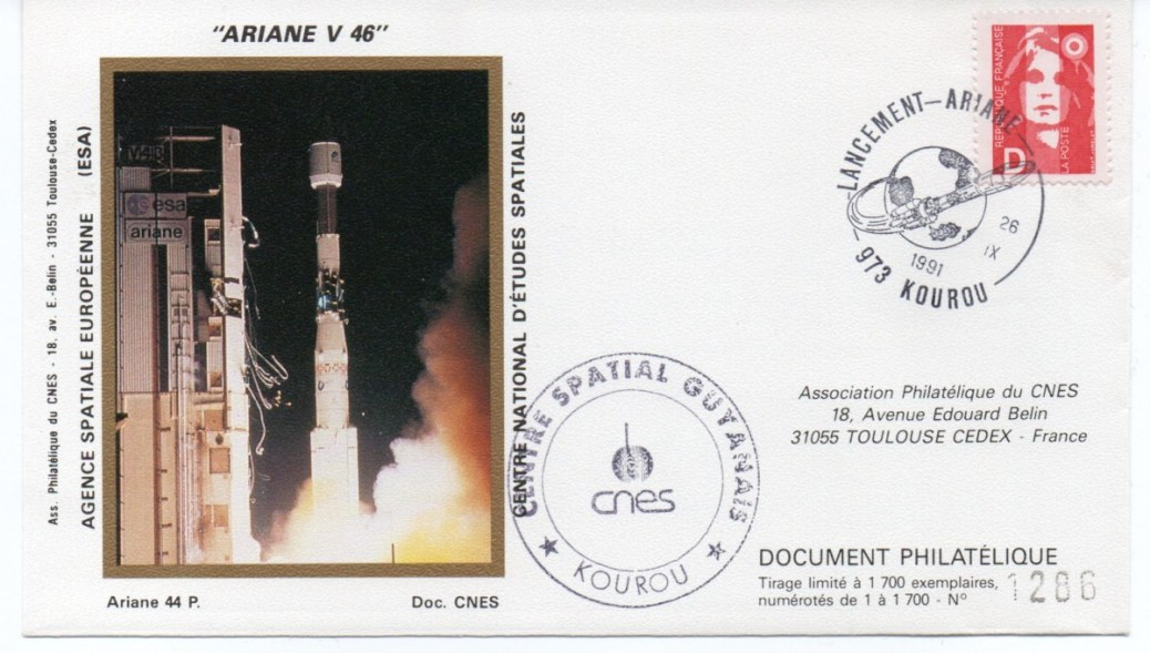 img20200426 18080091 - Kourou (Guyane) Lancement Ariane 4 - 44P – Vol 46 - 26 Septembre 1991 (Enveloppe Club Phila du CNES) - C7