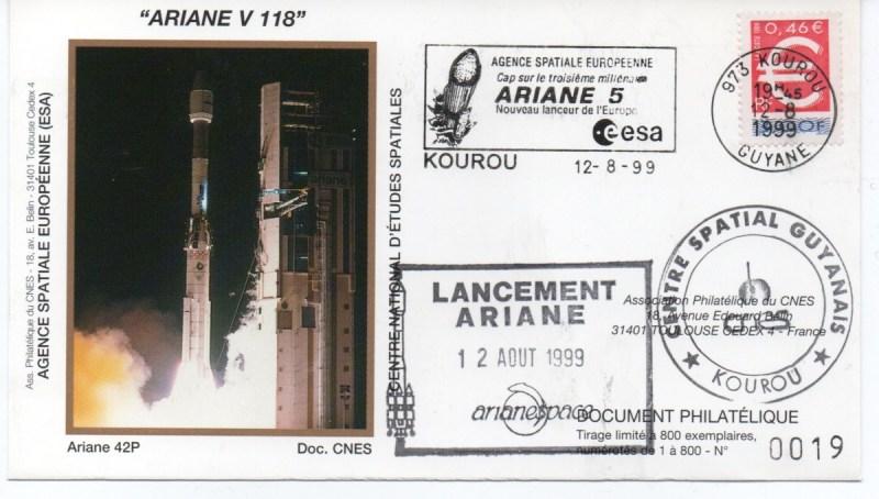 img20200426 18134462 - Kourou (Guyane) Lancement Ariane 4 - 42P – Vol 118 - 12 Aout 1999 (Enveloppes Club Phila du CNES)