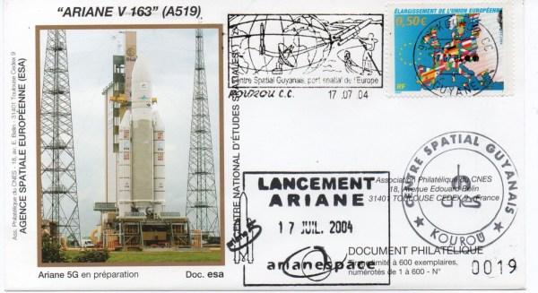img20200428 17395291 - Kourou (Guyane) Lancement Ariane 5 G+ – Vol 163 - 17 Juillet 2004 (Enveloppes Club Phila du CNES)