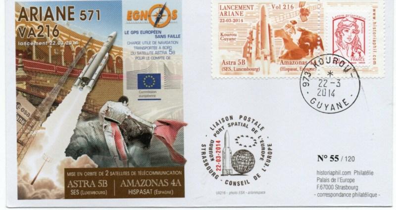 img20210924 19145849 - ARIANE 5ECA VA216 – Kourou 22 Mars 2014 – Enveloppe Conseil de l'Europe – C12