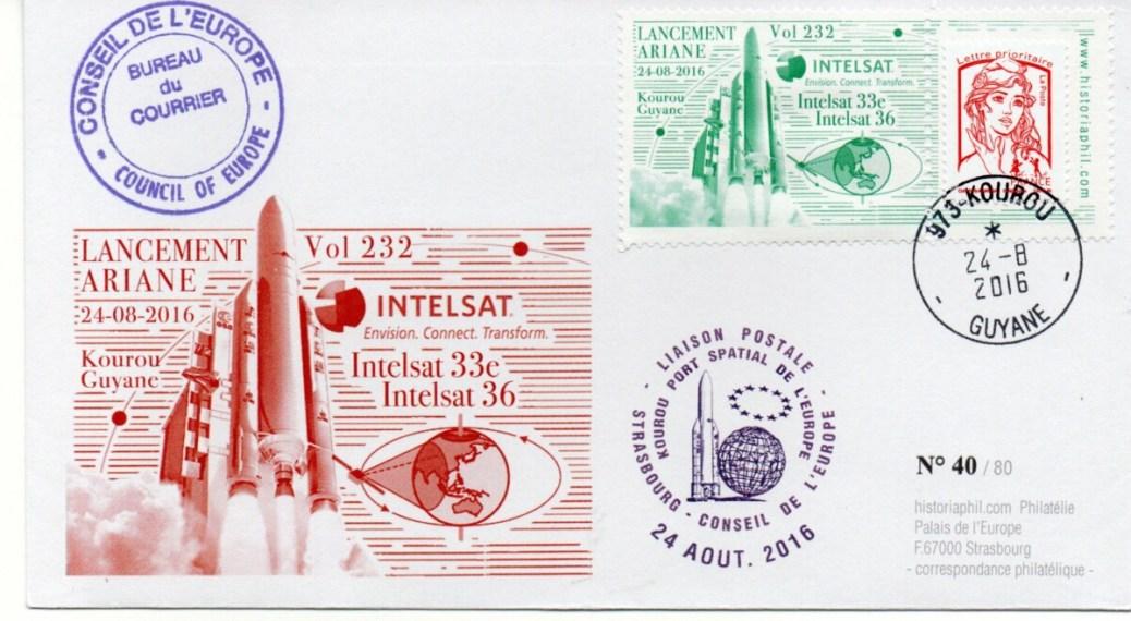 img20210925 11183414 - ARIANE 5ECA VA232 – Kourou 24 Aout 2016 – Enveloppe Conseil de l'Europe – C14