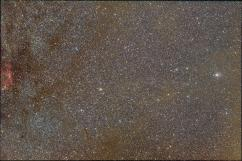 """Widefield image with light pollution, corrected by the """"remove light pollution"""", """"calibrate background"""", """"calibrate star colors"""" and """"selective color"""" tool. And boosted saturation, contrast and stretch parameters. Shot with a 50mm f/1.8 Olympus Zuiko objective and a Canon EOS 450D by Scott Rosen."""