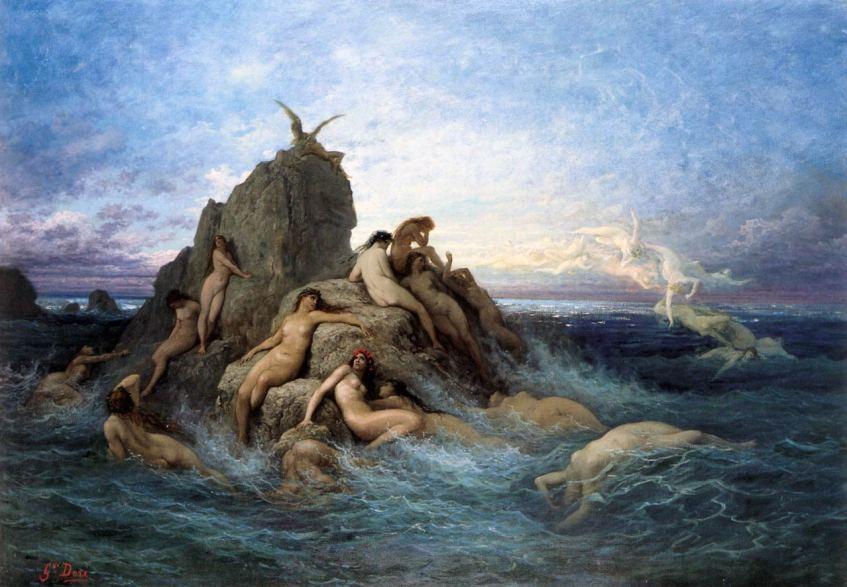As nereidas, as 50 filhas dos titãs Nereu e Doris, eram belíssimas criaturas de corpo feminino que habitavam o oceano. Gustave Doré, circa 1860.