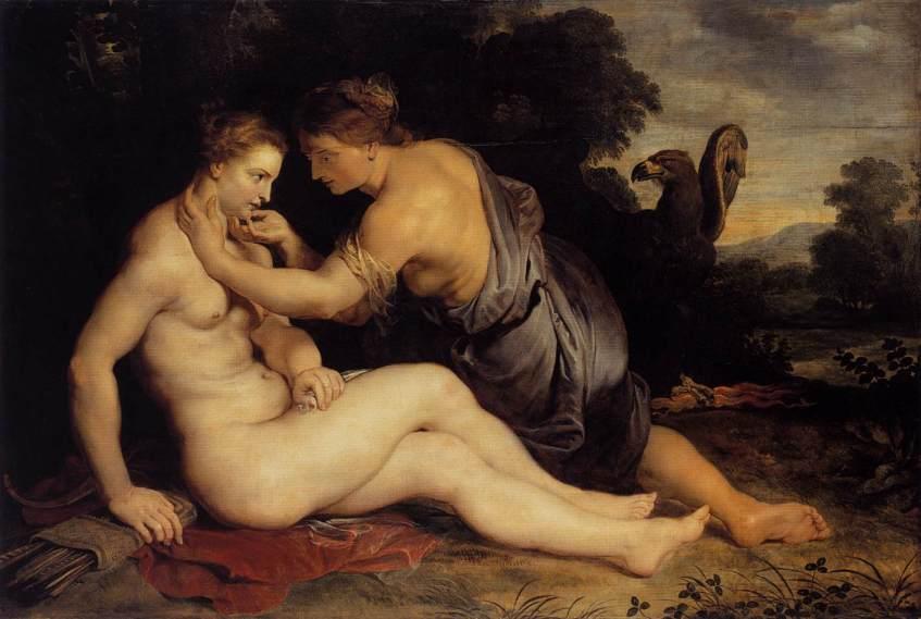 Zeus seduz Calisto assumindo a forma de Ártemis. A presença de Zeus é denunciada pela águia. Pintura de Peter Paul Rubens, 1613.