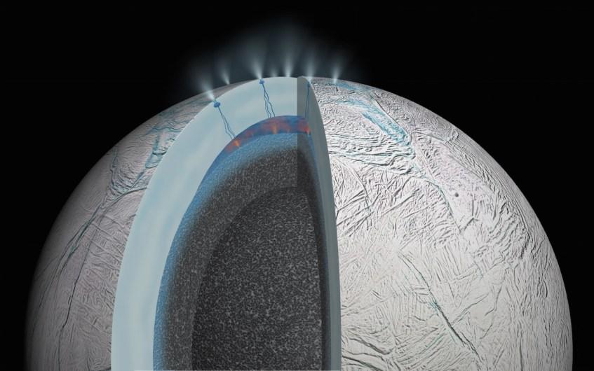 O oceano interior de Encélado, por debaixo de uma crusta de gelo com 30 a 40 km de espessura. Fontes hidrotermais no fundo desse oceano são a explicação mais simples para as peculiaridades observadas na composição do material das plumas, que escapa para o espaço através de géisers alimentados por fendas na crusta. Crédito: NASA/JPL-Caltech.