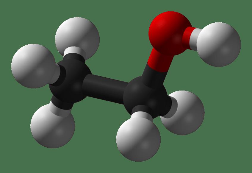 A molécula do álcool etílico. As esferas representam os átomos e os segmentos as ligações electrónicas entre os mesmos. As cores identificam o tipo de átomo: hidrogénio (cinza), carbono (preto) e oxigénio (vermelho). Crédito: Wikipedia.