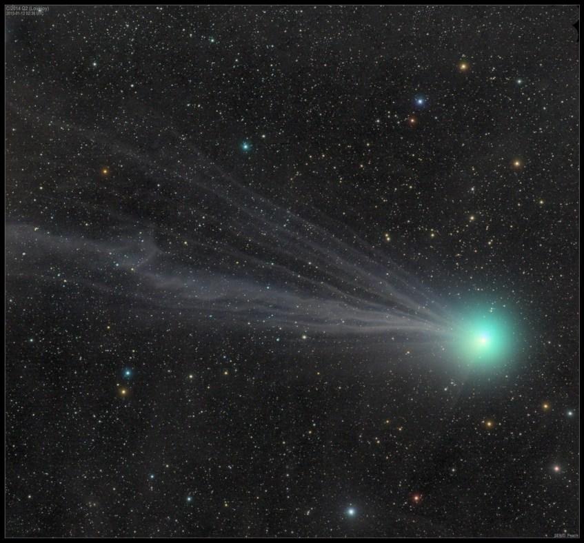 O cometa Lovejoy fotografado por Damien Peach, no dia 12 de Janeiro de 2015. Crédito: Damien Peach.