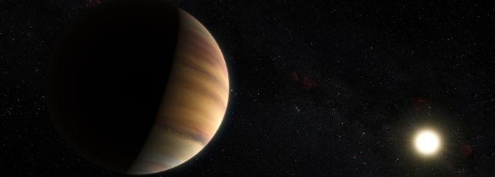 """Impressão artística do """"Júpiter quente"""" 51 Pegasi b, o primeiro exoplaneta a ser descoberto em torno de uma estrela semelhante ao Sol, em 1995. Crédito: ESO/M. Kornmesser/Nick Risinger (skysurvey.org)"""