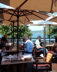 Weather permitting, sit out on the deck at Prima Bistro.