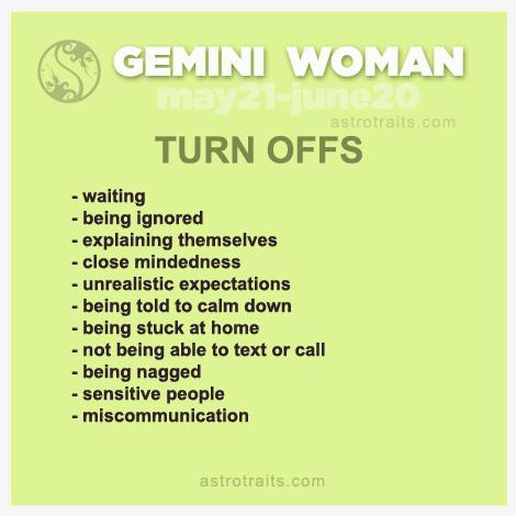 gemini woman turn offs