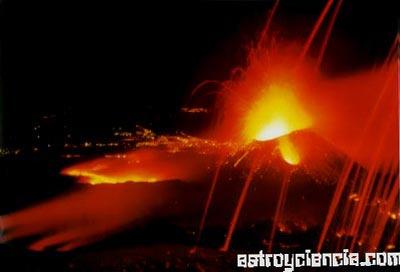 Volcán en la superficie de la Tierra