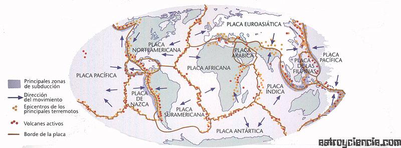 Mapa terrestre de las placas tectónicas