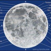 Mapa de la Luna: Mares, lagos, bahías y cráteres