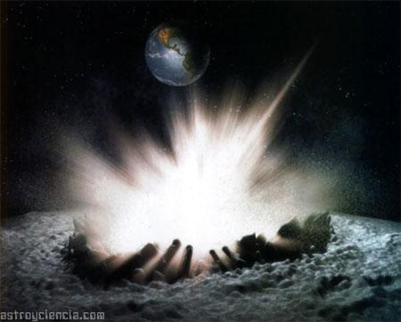 Impacto de una estrella fugaz en la Luna