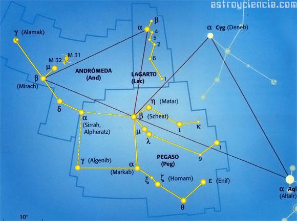 Localizar las constelaciones de Pegaso, Andrómeda y el Lagarto