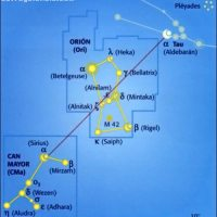 Localizar la constelación de Orión (Ori) y la constelación del Can Mayor (CMa)
