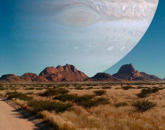 Si Júpiter estuviera en e lugar de la Luna