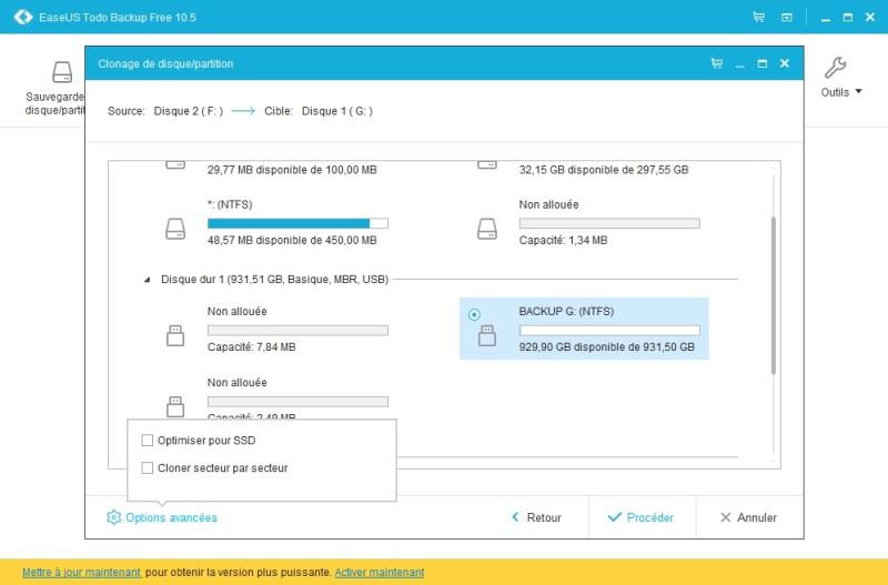 Options de clonage du disque dur